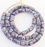 Krobo Ghana Matched Blue Sun floral Recycled glass African trade beads
