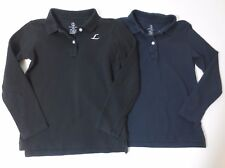 """Lands' End Boys Size 5-6 Years Long Sleeve Polo Shirts Uniform Embroidered """"L"""""""