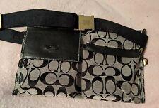 COACH Belt Bag Fanny Pack Waist Belt Blk/Grey Canvas Style