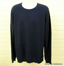 Mens Navy Blue 100% Pure Cashmere Sweater 2XLT Crew Neck Marc Anthony NWT
