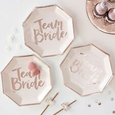 Pink & Rose Gold Team Bride Paper Plates Hen Do Party Tableware Disposable x 8