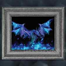 Mystical Magic Blue Fire Dragon - Medieval Fantasy Art Print