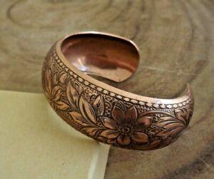 Pure Copper Daisy Design Adjustable Dome Cuff Bracelet Arthritis Relief Bracelet