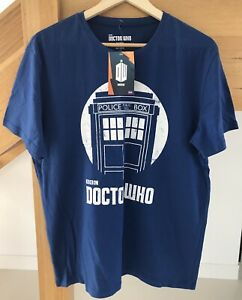 DR WHO BBC Mens Tardis T-Shirt Blue/White Size L BNWT