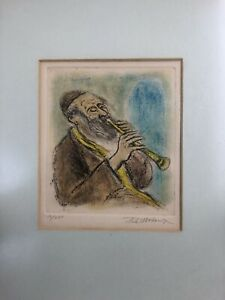 Original Signed Colored Etching by Ira Moskowitz framed