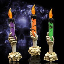 Halloween Skull Skeletal Hand Holder LED Candle Light Decoration Party Lamp Prop