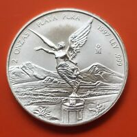 @RARE@ MEXICO 2 ONZAS 1997 LIBERTAD UNC PURE SILVER COIN Oz Troy Ounce Mejico