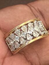 Pave 1.78 Cts Pear Princess Cut Natural Diamonds Ring In Fine Certified 14K Gold
