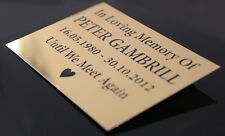 MEMORIAL URN PLAQUE FUNERAL PET TAG GOLD METAL LASER ENGRAVED SIGN LARGE SIZE