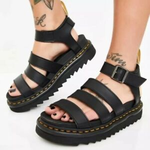 Women's Studded Hollow Out Open Toe Thick Non-Slip High Heel Platform Sandals SZ