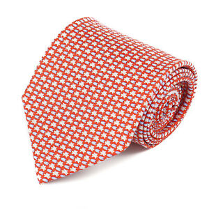 Salvatore Ferragamo Red Silk Tie with Frog and Lily Pad Print NWT