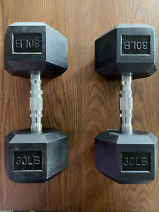 Rubber Coated Hex  30lb Dumbbells set(60lbs) new cap dumbbell pair