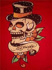 NWT ED HARDY Red Cap Sleeve BRAD T-shirt Skull Roses Size Small