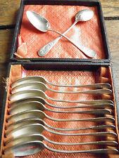 coffret ensemble 12 petites cuillères - ancien - métal argenté
