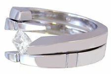 14K White Gold Princess Cut Diamond Engagement Ring Band Tension Set Bridal 0.50