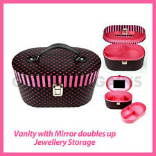 Beauty Vanity Cosmetic Jewellery Box Travel Cabinet Pink Hearts VALENTINE Gift