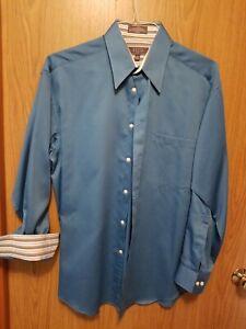Crazy Horse Blue Sateen Flip Cuff Dress Shirt Size 15 1/2 32/33 Excellent