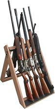 Wooden Gun Rack Vertical Rifle Storage Mount Display Standing Shotgun Floor Wood