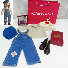 American Girl Doll KIT HOBO OVERALLS OUTFIT + NEW WORK BOOTS Shirt Overalls Box!