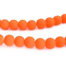 Glas Perlen Walze rot orange mit Schliff 9 mm  zum Basteln 4 Stück Loch 3 mm