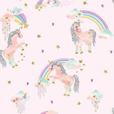Arthouse Rainbow Unicorn Pink Glitter Childrens Girls Feature Wallpaper 696108
