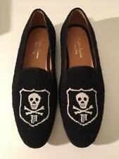 $695 NIB RALPH LAUREN Collection Blk Needlepoint Skull Collis Loafers Shoes 7.5D