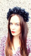 Black Floral Flower Headband Crown handmade Goth HairBand Festival Wedding **UK*