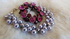 Rosa Pálido Azul Gris Perlas de Imitación Pulsera de Abalorios Fucsia Rosa Rojo Diamante Broche