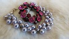 Bracelet Fuschia Pink Red Diamante Brooch Pale Blue Grey Faux Pearl Rose Bead