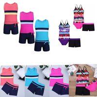 Girl Kid Swimwear Tankini Outfits Swimsuit Vest Tops+Shorts Bottoms Swim Costume