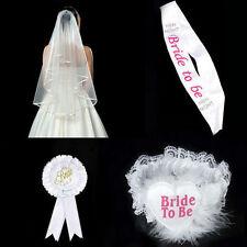 Bride To Be White Rosette Veil Garter Sash Badge Hen Night Bachelorette Party DO