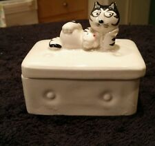 Takahashi pottery Tom Cat ceramic pottery trinket box