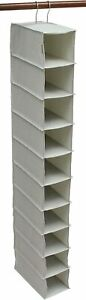 G007 – Heavy Duty 10 Shelf Hanging Shoe Organiser 127cm High 600D Fabric Beige