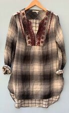 Anthropologie Small Top Floreat Embroidered Flannel Tunic Black Gray Plaid Shirt