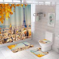 Eiffel Tower Bathroom Rug Set Shower Curtain Non-Slip Toilet Lid Cover Bath Mat