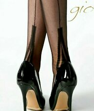 GIO LAFAYETTE BLACK FF Fully Fashioned Seamed Stockings 9.5 M Medium imperfects