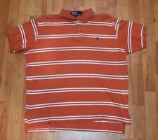 POLO RALPH LAUREN  Men's Sz L  Orange Striped POLO  SHIRT  EUC