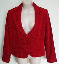 Nine & Company Red Jacket Blazer Size 10 Embossed Heavier Fully Lined Piping