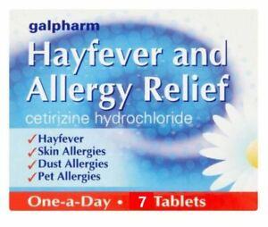 7 HAYFEVER & ALLERGY RELIEF TABLETS - CETIRIZINE HYDROCHLORIDE - SKIN - DUST