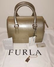 Authentic Furla Candy Satchel Jelly Bag Gold Glitter Italy