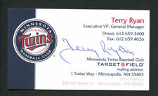 Terry Ryan signed autograph Minnesota Twins Exe. VP & GM Business Card BC278