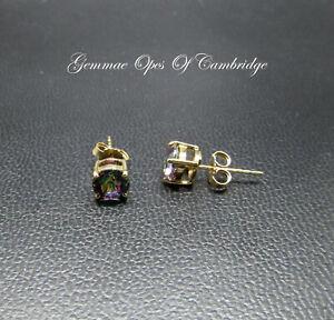 9K gold 9ct Gold Mystic Topaz Stud Earrings 1.32g 1.6 carats