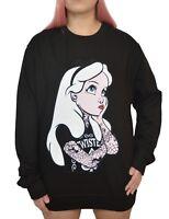 Punk Disney Alice In Wonderland Rebel Tattoo Sweatshirt Jumper Top gothic emo