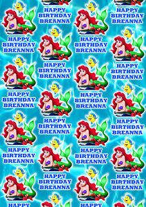 LITTLE MERMAID Personalised Gift Wrap - Disney Princess Ariel Wrapping Paper