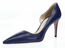 Prada Womens Blue Leather Slip On Pointy Toe Pumps Stiletto Shoes Size 39
