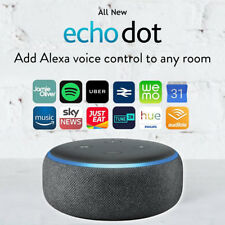 Amazon Echo Dot 3rd Generation Speaker Charcoal Black UK PLUG - In Stock Now!