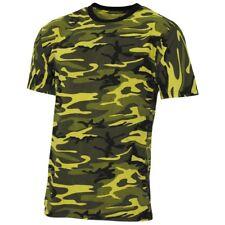 MFH Maglia Maglietta T-shirt uomo Stati uniti militare alla moda Giallo camo