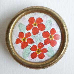 Button Antique - Painting under / Below Glass (Or Celluloid) - 23 MM - Painted