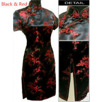 Traditional Chinese Women's Silk Satin Floral Mini Dress Cheongsam Qipao Retro