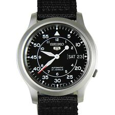 Seiko 5 Military SNK809 K2 Automatic Black Dial Nylon Strap Watch Meet ups Ship